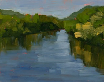 River in summer - Landscape Painting - Oil on Panel