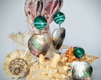 925 Silver jewelry sets-Pearl and agate Green
