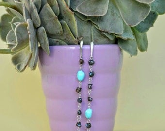 Earring Silver 925  , with  pearls and turquoise