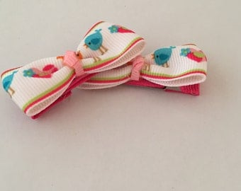 Sweet Pink and Blue Birdie Barrettes, Set of 2