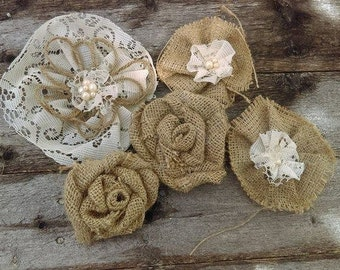 Burlap & Lace Flower Assortment