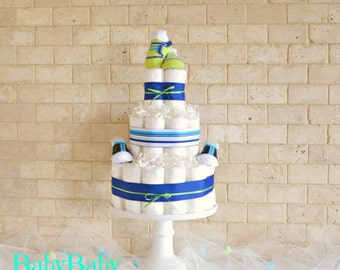 Blue and Green Baby Boy Diaper Cake, Baby Shower Gift for Boy, Boy Baby Shower Diaper Centerpiece and Decoration