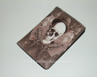 High Quality Faux Leather Passport Holder Case (Skull And Guns)