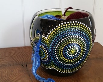 Hand painted polka dot yarn bowl