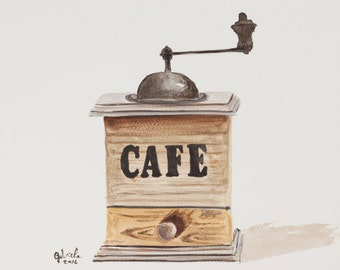 Watercolor print by me made, antique coffee grinder
