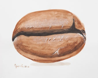 Watercolor print by me made, coffee bean