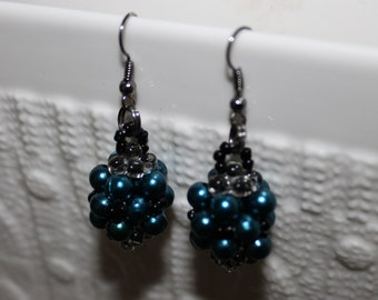 Blue/Burgundy & black beaded handmade earrings; beadweaving