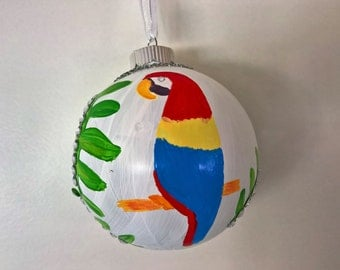 Hand Painted Macaw Ornament