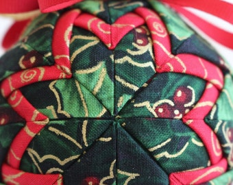 Holly Jolly Fabric Christmas Ornament