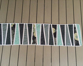 Mint green and grey table runner