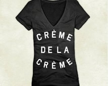 Creme De La Creme District Made Women V-neck T-shirt Size XS To 4XL In Black (Pick Your Ink Color) With White Ink