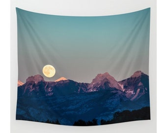 Wall Tapestry,Mountain Tapestry, Wall Hanging, Mountains Full Moon Sky Forest, Wall Decor,Photo Wall Art, Modern Tapestry, Home Decor
