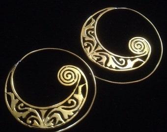 Brass spiral hoop earrings, gold finish. Ethnic, tribal, gypsy, boho, bohemian, Indian inspired.