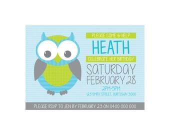 Kids Birthday OWL Invitation PRINTABLE