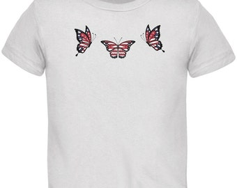 Butterfly 4th of July Patriotic Butterflies White Toddler T-Shirt
