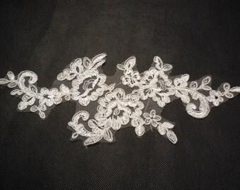 Ivory bridal floral lace applique  lace motif is for sale. 11x28.2cm. sold by per piece