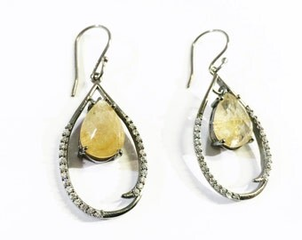 Brutality Quartz And White Topaz Earring in Sterling Silver
