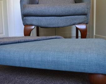 Footstool Duck Egg Blue Linen/Oak Feet