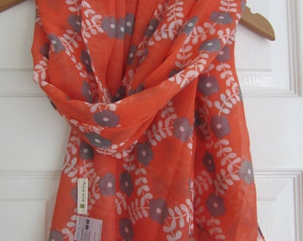 Orla Kiely Orange Multi Floral Scarf Wrap -Rare -Gift
