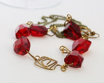 Red bead and wire necklace
