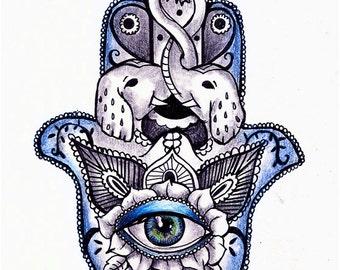 Hamsa with Eye ~ Tattoo Design