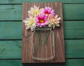 MADE TO ORDER--Rustic Floral Mason Jar String Art Wall Hanging, Nail Art, Home Decor
