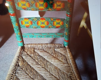 "Vintage Adult Mexican Hand Painted Chair. ""Rare"""