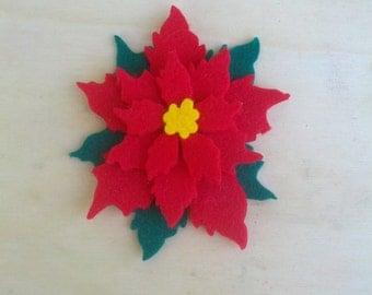 6 die-cut felt poinsettia flower