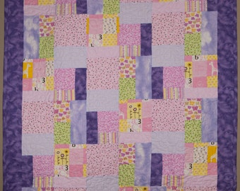 Baby Quilt Flannel Baby Girl Blanket Pink Yellow and Purple Toddler Blanket Baby Girl Quilt ***  10% off in July! Use coupon code JULY16 ***