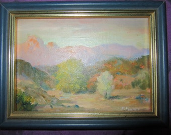Vintage sunset desert hand painted original oil PAINTING signed F Penney small landscape