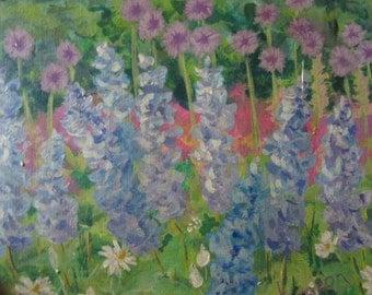 Vintage hand painted original PAINTING signed M.Sturgeon floral flowers wildflowers acrylic