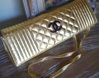Vintage quilted gold clutch purse