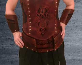 Female medieval leather armor chestpiece