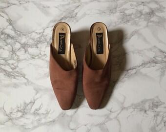 cocoa brown suede slide on heels / vintage 1990s suede heels / size 8