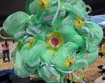 Springtime Butterflies Green Mesh Wreath