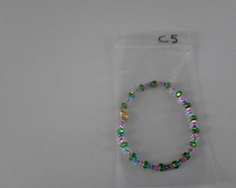 Seed beads bracelet with green pink purple and blue beads c5