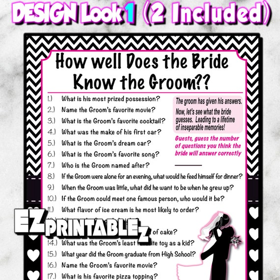 How Well Does The Bride Know The Groom Printable Bridal