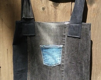 Upcycled jean market tote bag
