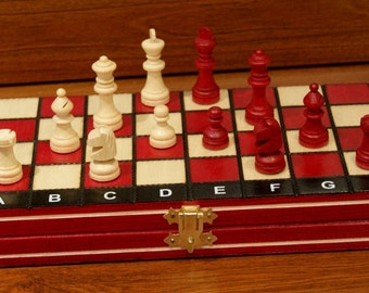 Chess set Magnetic maroon Handmade