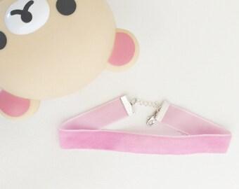 pastel pink velvet choker