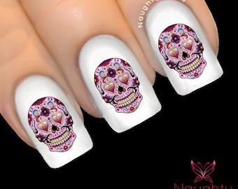 JULIETTE Sugar Skull Nail Water Transfer Decal Sticker Art Tattoo Day of Dead NNC-141
