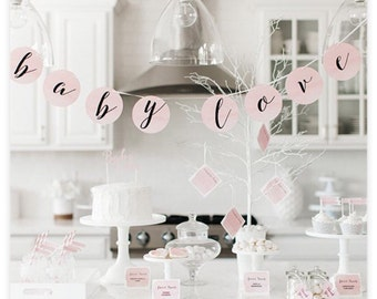 """Watercolor """"It's a Girl!"""" Baby Shower Invitations and party accessories."""