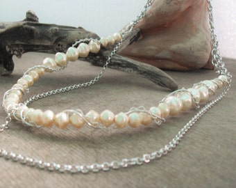Champagne Pearl long necklace with double chain