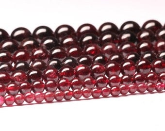 Natural Garnet, Natural Stone Beads, Garnet Beads, Round Beads, Semi Precious, Gemstone Beads, Red Beads, 3 4 5 6 7 8 9 10 mm, (CB019)