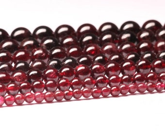 Natural Garnet, Natural Stone Beads, Garnet Beads, Round Beads, Semi Precious, Gemstone Beads, Red Beads, 3 4 5 6 7 8 9 10 mm, (CB019)