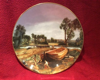 Crown Staffordshire John Constable Boat Building Near Flatford Mill Plate