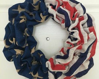 Burlap Wreath, Patriotic Wreath, American Flag Wreath, 4th of July Wreath, Memorial Day Wreath, Fourth of July, Americana