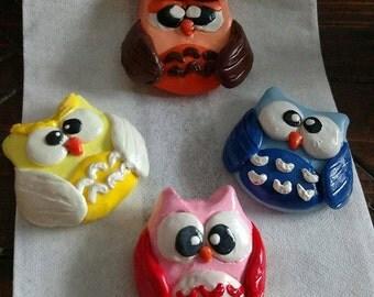 Handmade Polymer Clay Owl Magnets