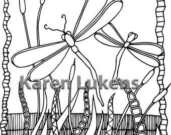 Dragonfly Garden #1, 1 Adult Coloring Book Page, Printable Instant Download