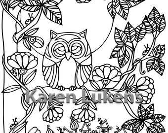 Happy Owl Moon, 1 Adult Coloring Book Page, Printable Instant Download